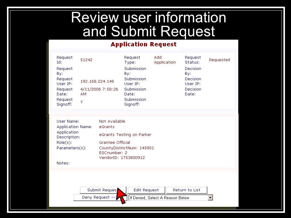 Review user information and Submit Request
