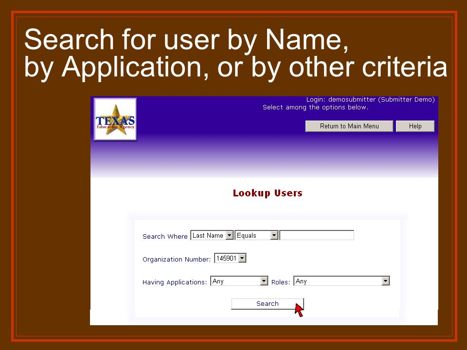 Search for user by Name, by Application, or by other criteria
