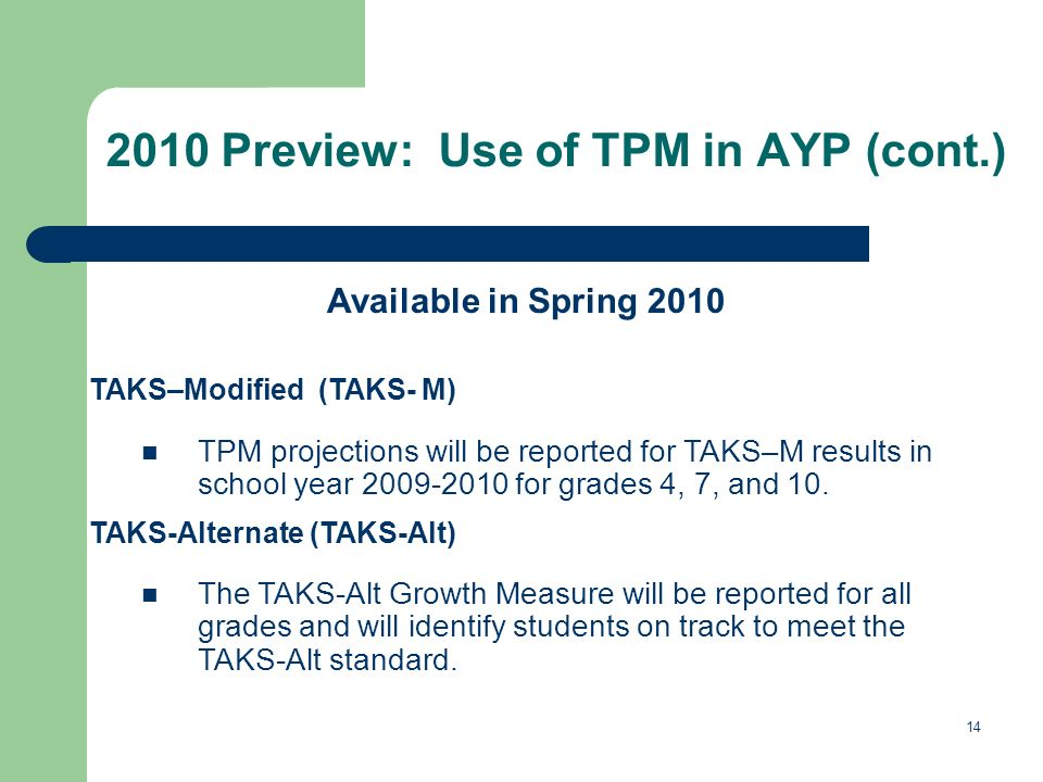 14 2010 Preview: Use of TPM in AYP (cont.) Available in Spring 2010 TAKS–Modified (TAKS- M) TPM projections will be reported for TAKS–M results in school year 2009-2010 for grades 4, 7, and 10.