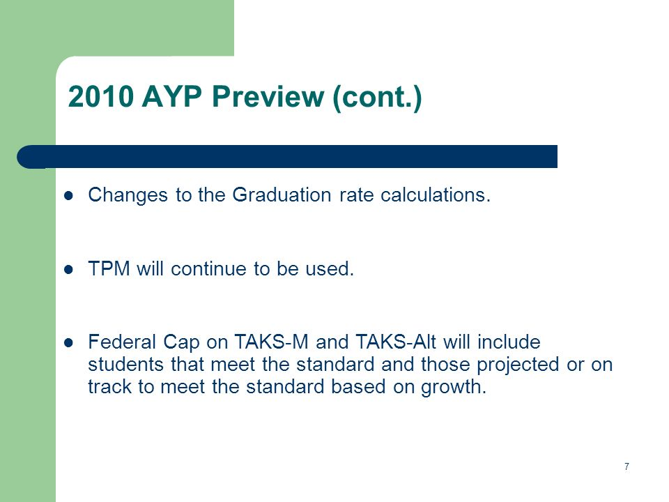 AYP Preview (cont.) Changes to the Graduation rate calculations.