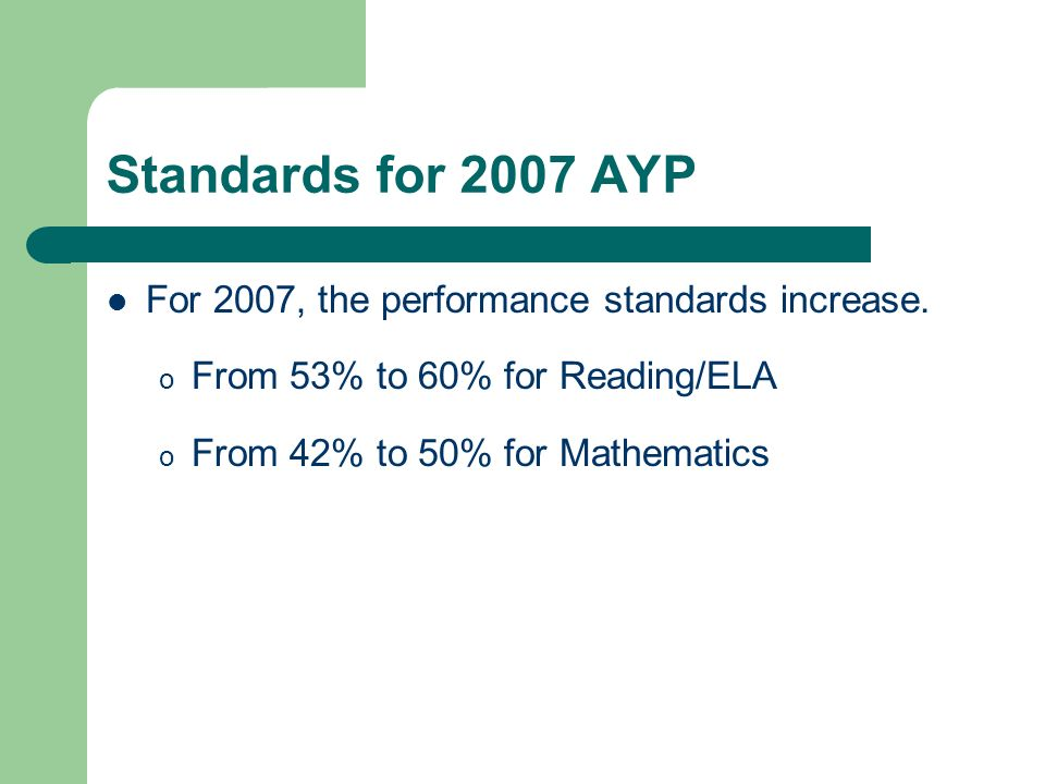 Standards for 2007 AYP For 2007, the performance standards increase. o From 53% to 60% for Reading/ELA o From 42% to 50% for Mathematics