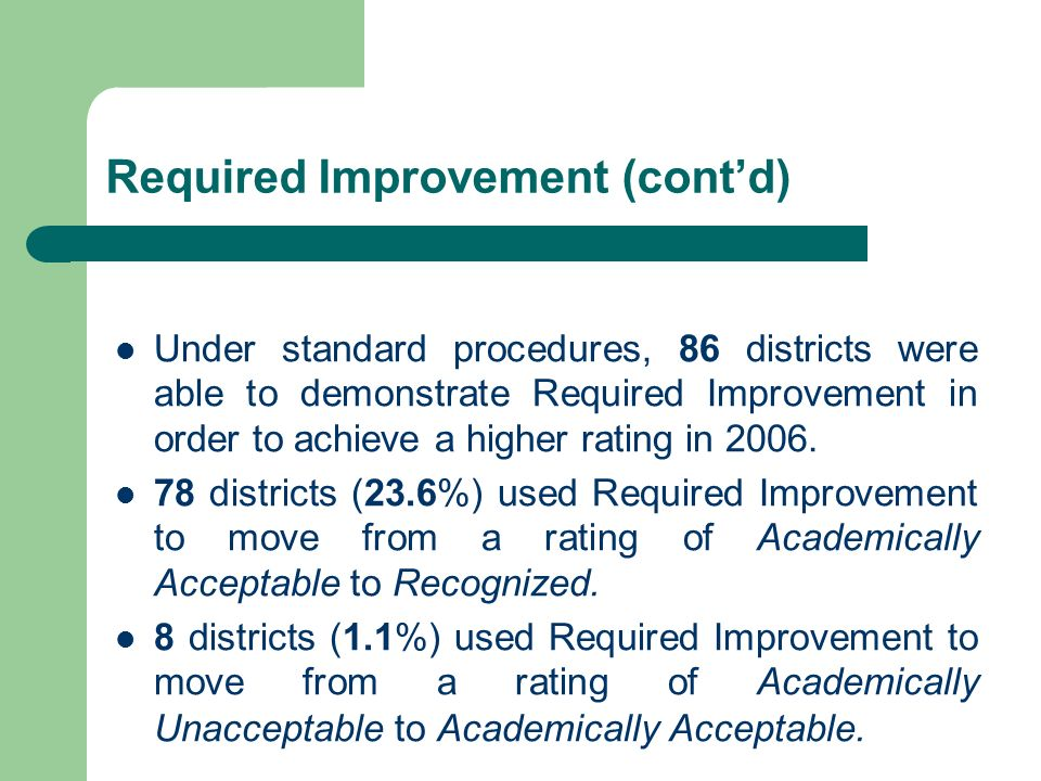 Required Improvement (contd) Under standard procedures, 86 districts were able to demonstrate Required Improvement in order to achieve a higher rating in 2006.