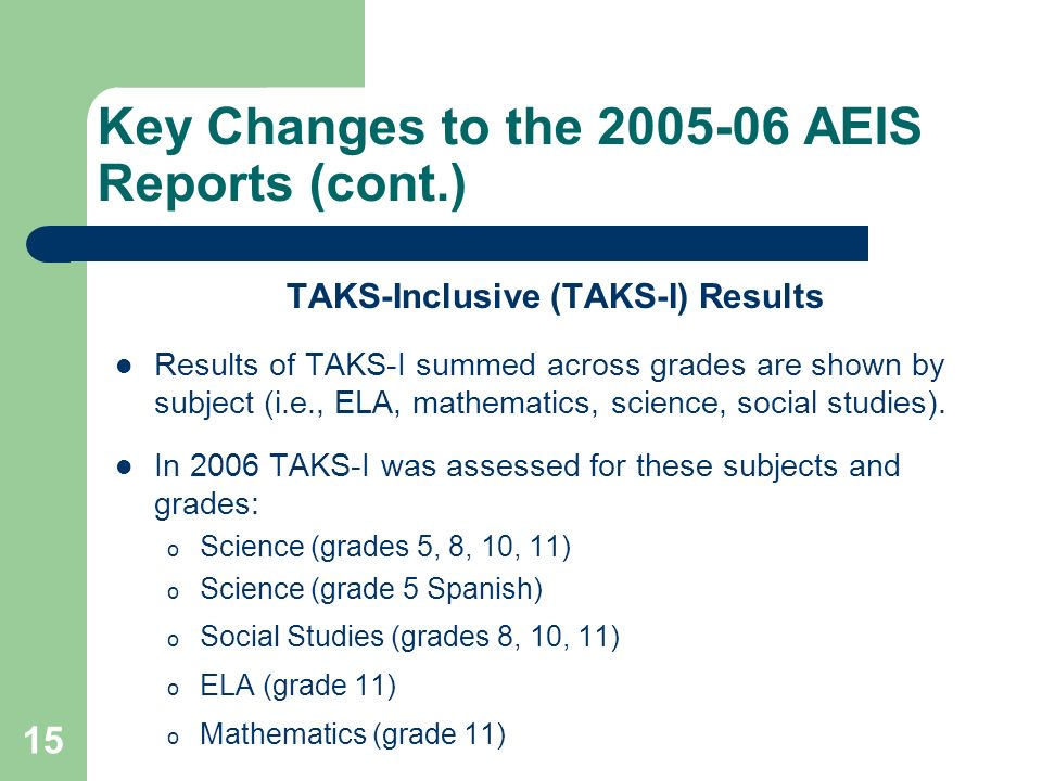 15 Key Changes to the 2005-06 AEIS Reports (cont.) TAKS-Inclusive (TAKS-I) Results Results of TAKS-I summed across grades are shown by subject (i.e.,