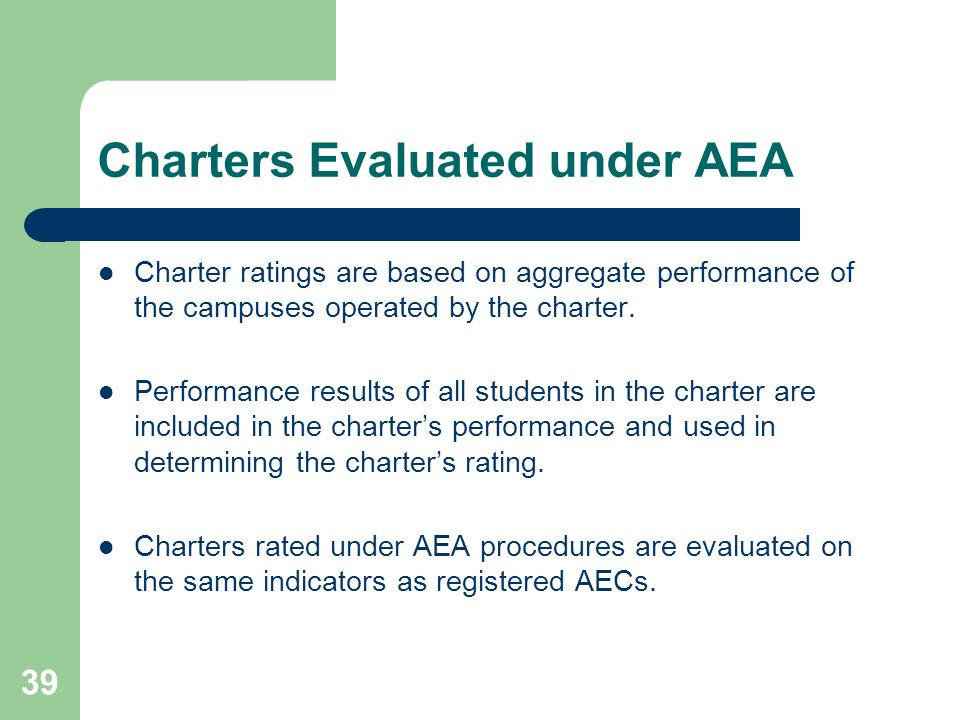 39 Charters Evaluated under AEA Charter ratings are based on aggregate performance of the campuses operated by the charter. Performance results of all