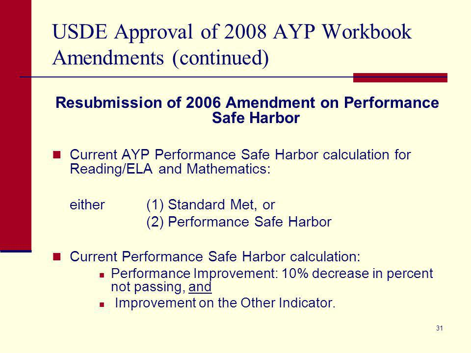 30 USDE Approval of 2008 AYP Workbook Amendments Texas AYP Workbook Amendments Approved: Removed the provisions based on the expired agreement of the November 30, 2005, US Department of Education Agreement on Inclusion of Certain Students with Disabilities in the Texas AYP calculation.