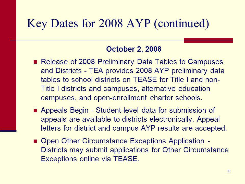 38 Key Dates for 2008 AYP (continued) August, 2008 Districts Retain SIP Status from 2007-08 - Texas school districts retain all SIP evaluations from the prior year (based on 2007 AYP results) and continue implementation of SIP requirements.