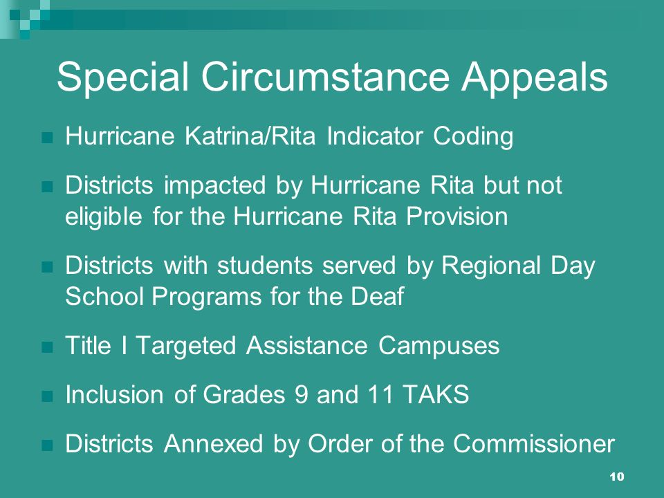 10 Special Circumstance Appeals Hurricane Katrina/Rita Indicator Coding Districts impacted by Hurricane Rita but not eligible for the Hurricane Rita P