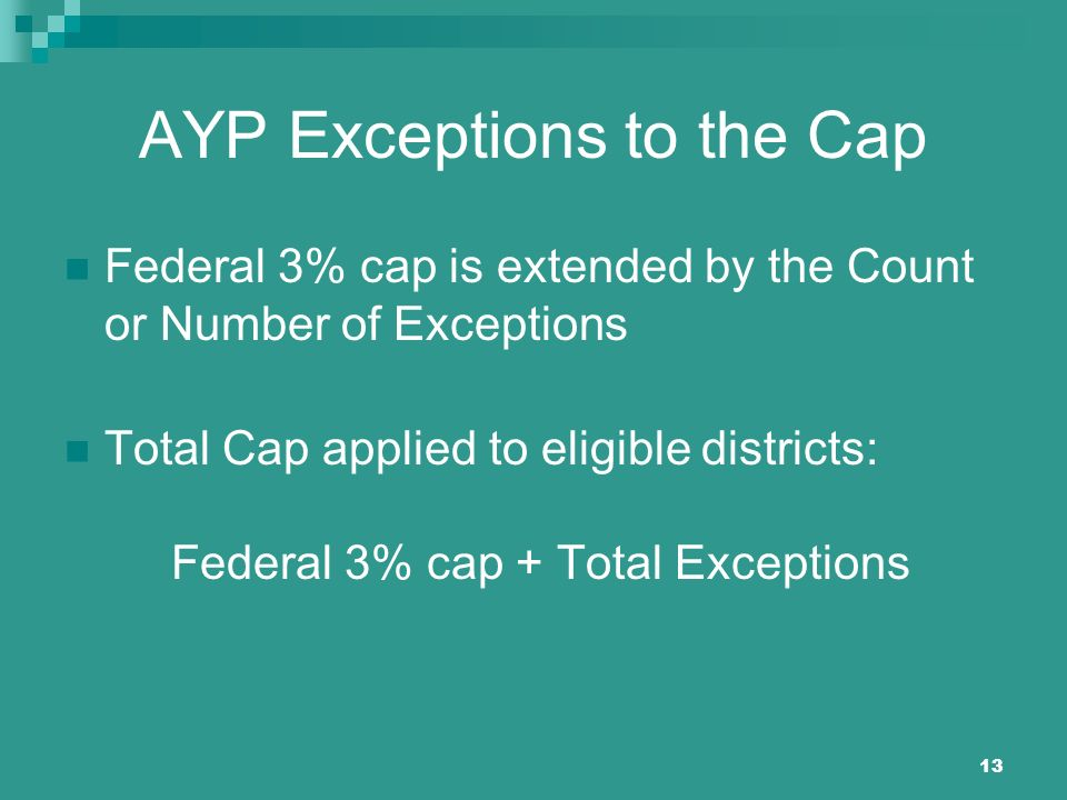 13 AYP Exceptions to the Cap Federal 3% cap is extended by the Count or Number of Exceptions Total Cap applied to eligible districts: Federal 3% cap +