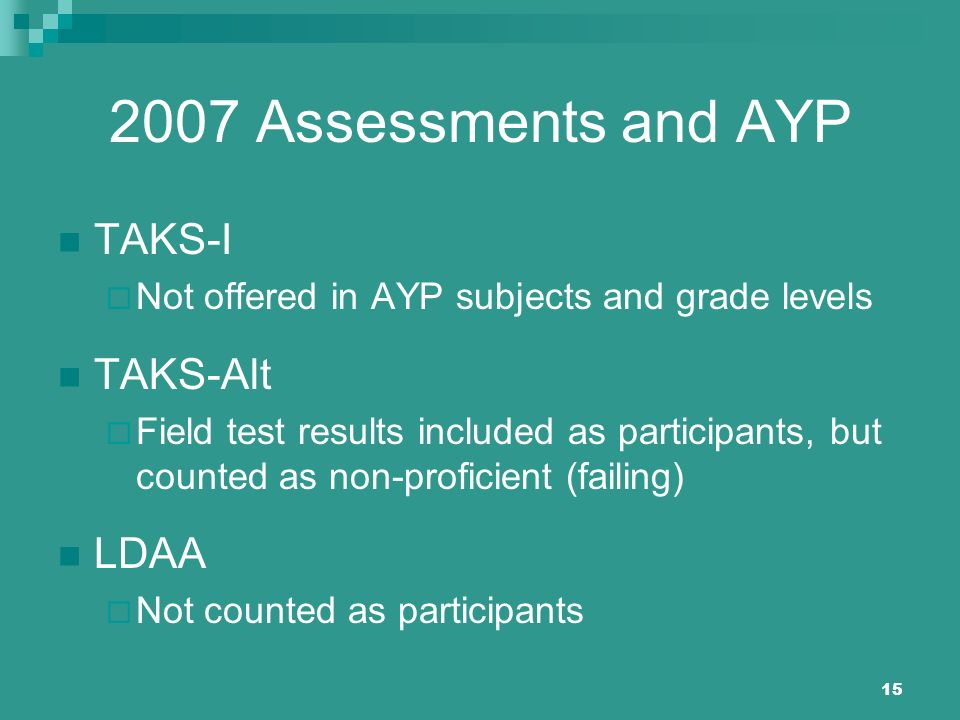 15 2007 Assessments and AYP TAKS-I Not offered in AYP subjects and grade levels TAKS-Alt Field test results included as participants, but counted as n