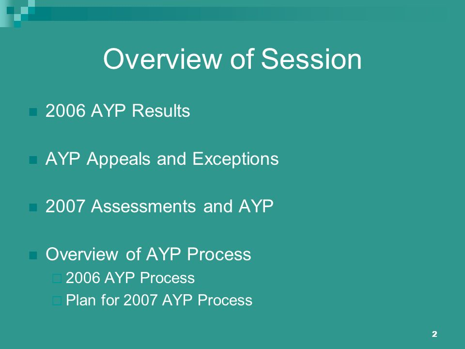 2 Overview of Session 2006 AYP Results AYP Appeals and Exceptions 2007 Assessments and AYP Overview of AYP Process 2006 AYP Process Plan for 2007 AYP