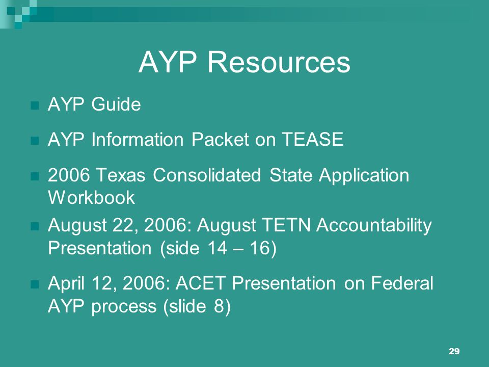 29 AYP Resources AYP Guide AYP Information Packet on TEASE 2006 Texas Consolidated State Application Workbook August 22, 2006: August TETN Accountabil