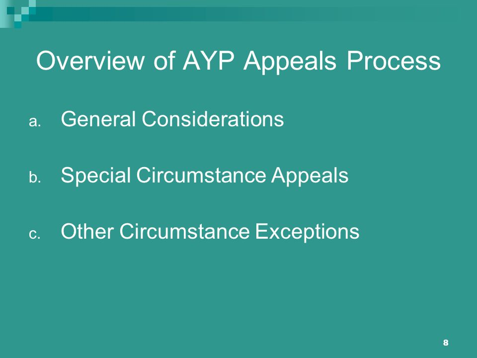 8 Overview of AYP Appeals Process a. General Considerations b. Special Circumstance Appeals c. Other Circumstance Exceptions