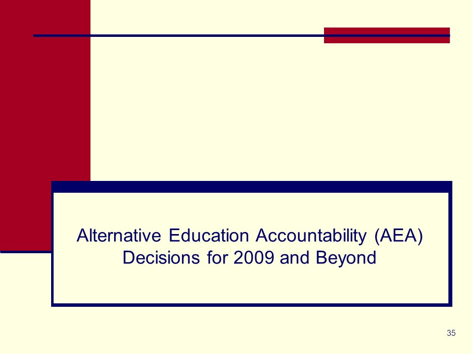35 Alternative Education Accountability (AEA) Decisions for 2009 and Beyond