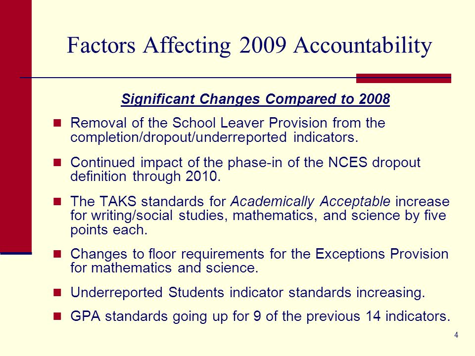 4 Factors Affecting 2009 Accountability Significant Changes Compared to 2008 Removal of the School Leaver Provision from the completion/dropout/underreported indicators.