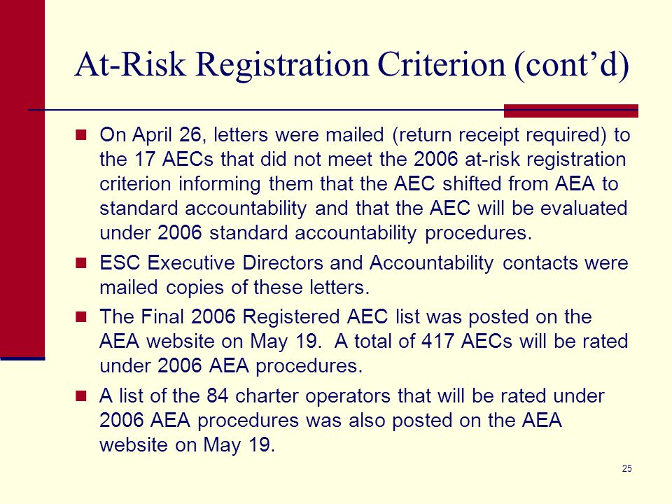24 At-Risk Registration Criterion (contd) 2.New Campus Safeguard: If a new campus is registered for evaluation under AEA procedures, then the AEC is not required to meet the at-risk criterion in its first year of operation.