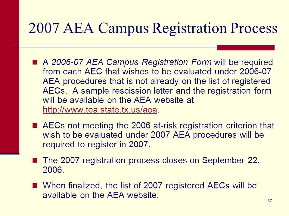 36 2007 AEA Campus Registration Process The 2007 AEA campus registration process begins on September 11, 2006.