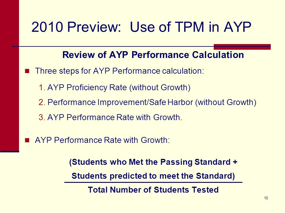 Preview: Use of TPM in AYP Review of AYP Performance Calculation Three steps for AYP Performance calculation: 1.AYP Proficiency Rate (without Growth) 2.Performance Improvement/Safe Harbor (without Growth) 3.AYP Performance Rate with Growth.