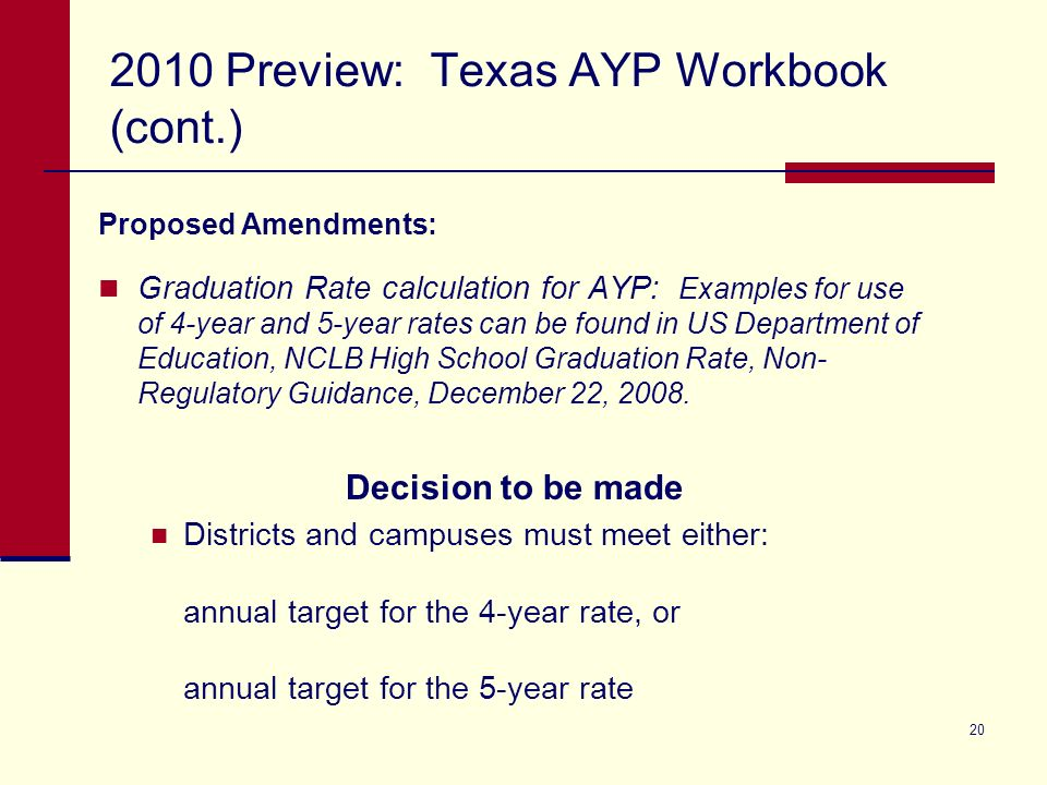 20 2010 Preview: Texas AYP Workbook (cont.) Proposed Amendments: Graduation Rate calculation for AYP: Examples for use of 4-year and 5-year rates can be found in US Department of Education, NCLB High School Graduation Rate, Non- Regulatory Guidance, December 22, 2008.