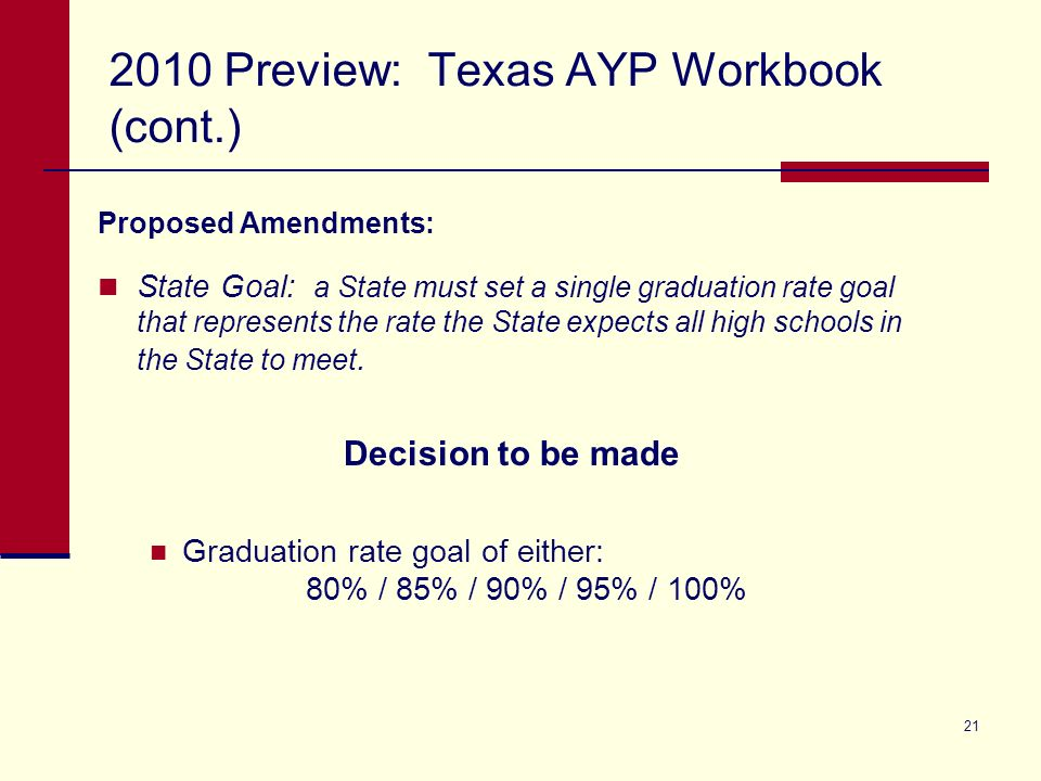 21 2010 Preview: Texas AYP Workbook (cont.) Proposed Amendments: State Goal: a State must set a single graduation rate goal that represents the rate the State expects all high schools in the State to meet.