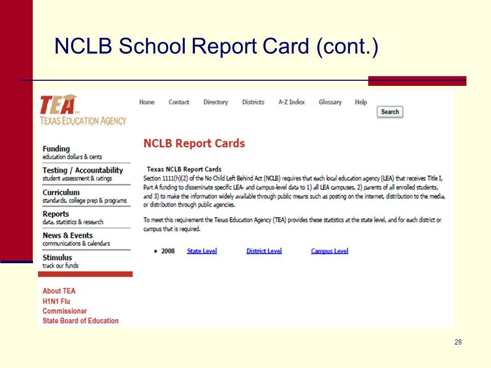 NCLB School Report Card (cont.) 28