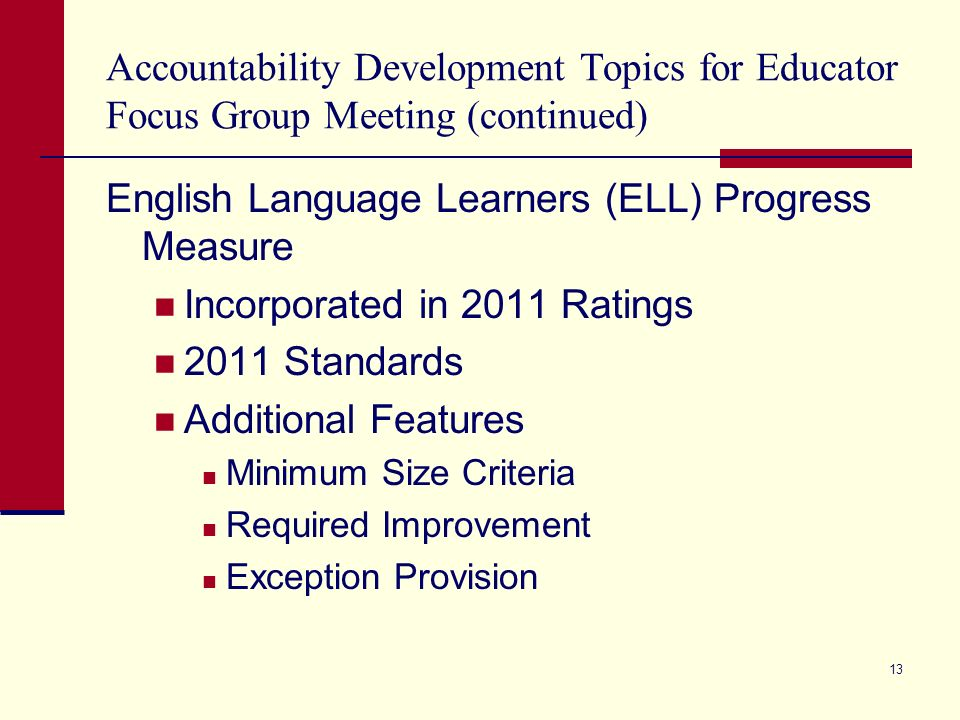 Accountability Development Topics for Educator Focus Group Meeting (continued) English Language Learners (ELL) Progress Measure Incorporated in 2011 R