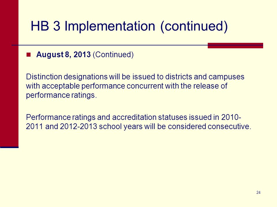 HB 3 Implementation (continued) August 8, 2013 (Continued) Distinction designations will be issued to districts and campuses with acceptable performance concurrent with the release of performance ratings.