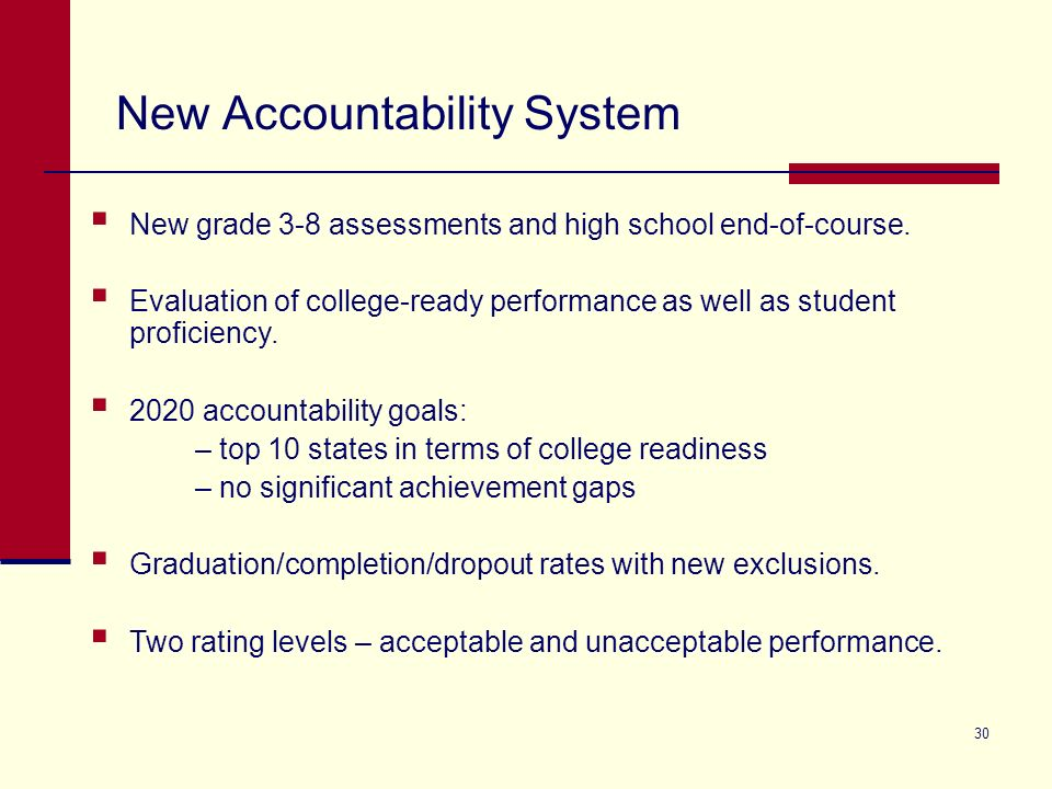 30 New grade 3-8 assessments and high school end-of-course. Evaluation of college-ready performance as well as student proficiency. 2020 accountabilit