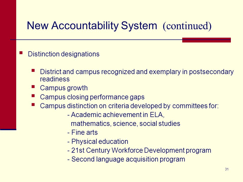 New Accountability System (continued) 31 Distinction designations District and campus recognized and exemplary in postsecondary readiness Campus growth Campus closing performance gaps Campus distinction on criteria developed by committees for: - Academic achievement in ELA, mathematics, science, social studies - Fine arts - Physical education - 21st Century Workforce Development program - Second language acquisition program