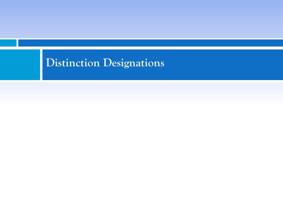 Distinction Designations