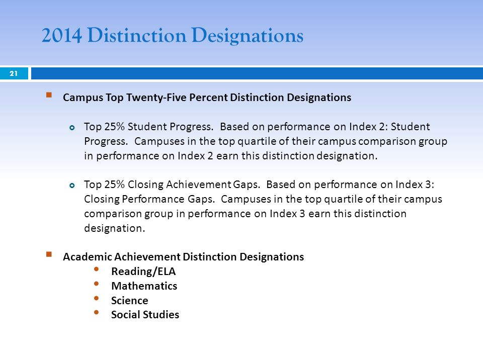 21 2014 Distinction Designations Campus Top Twenty-Five Percent Distinction Designations Top 25% Student Progress.