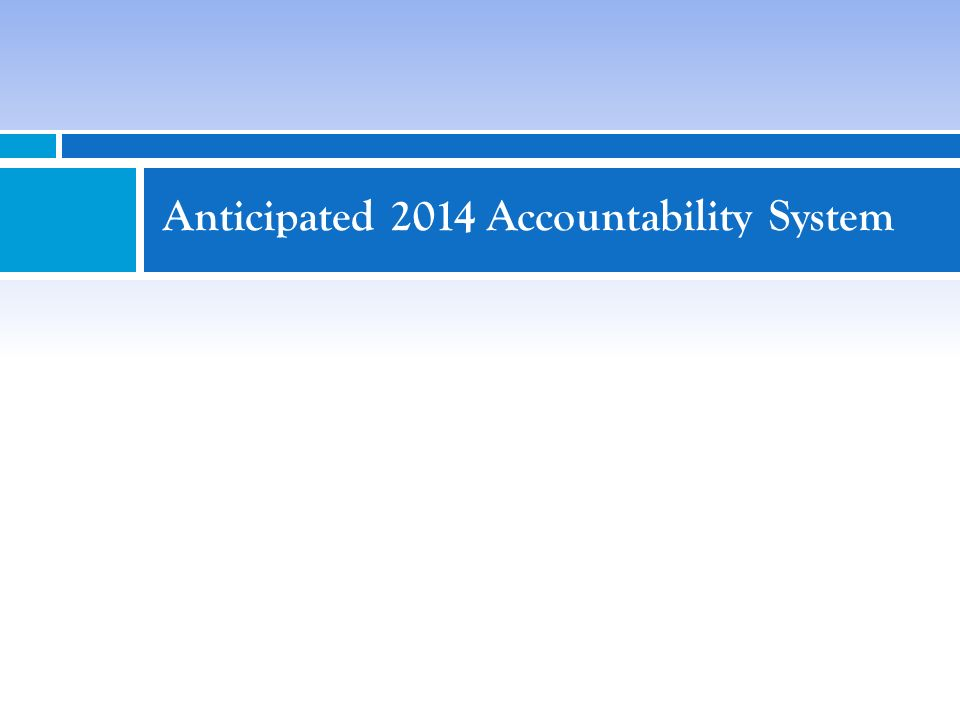 Anticipated 2014 Accountability System