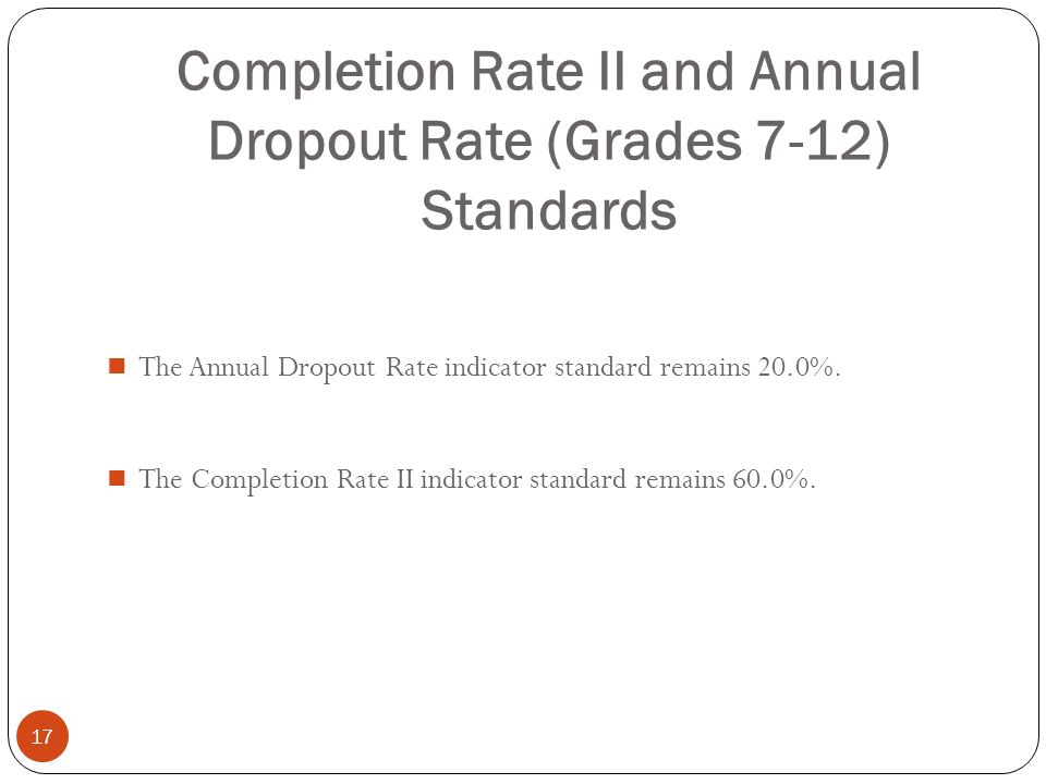 Completion Rate II and Annual Dropout Rate (Grades 7-12) Standards 17 The Annual Dropout Rate indicator standard remains 20.0%. The Completion Rate II