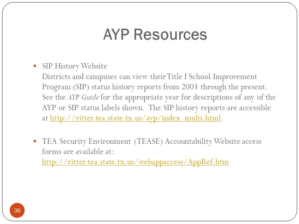 36 AYP Resources SIP History Website Districts and campuses can view their Title I School Improvement Program (SIP) status history reports from 2003 t