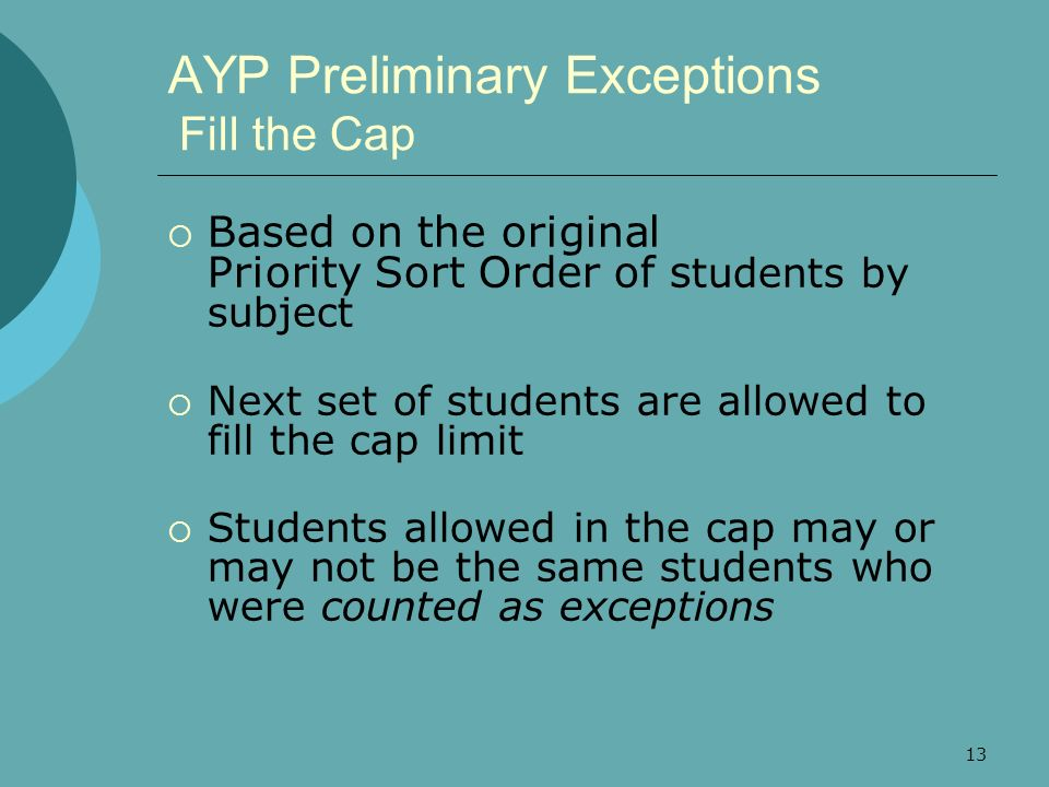 13 AYP Preliminary Exceptions Fill the Cap Based on the original Priority Sort Order of s tudents by subject Next set of students are allowed to fill