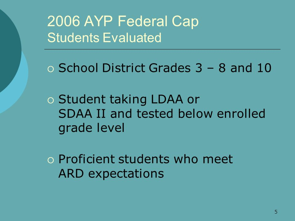 5 2006 AYP Federal Cap Students Evaluated School District Grades 3 – 8 and 10 Student taking LDAA or SDAA II and tested below enrolled grade level Pro