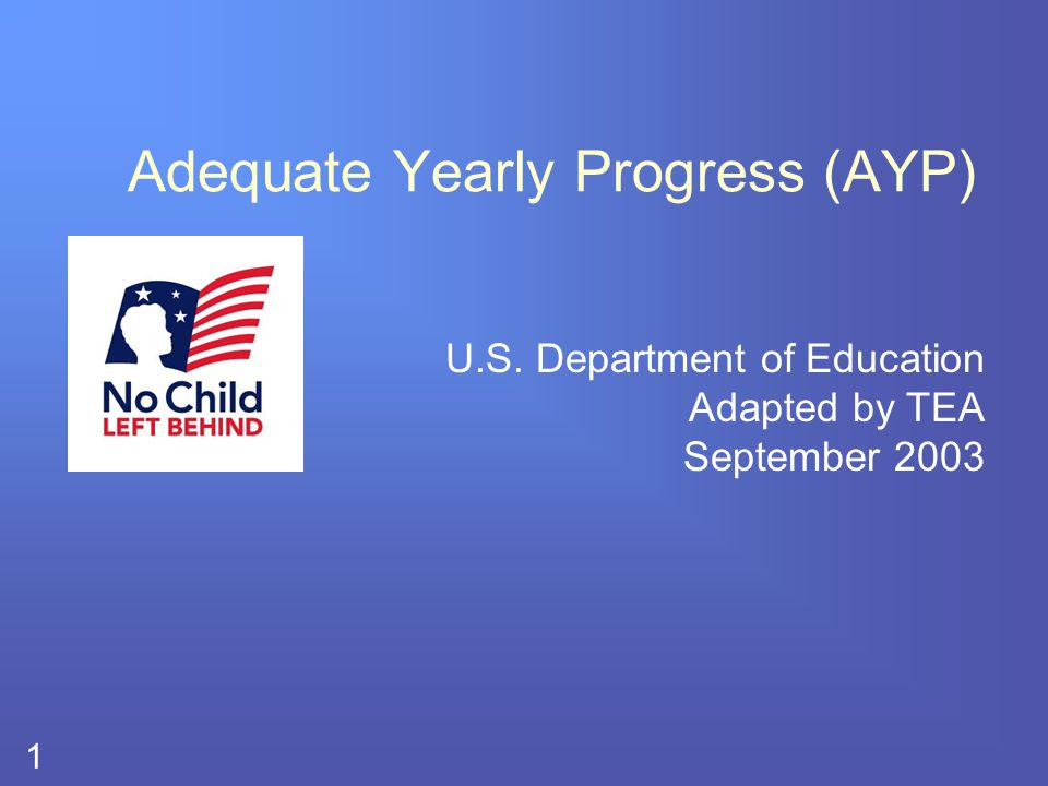 2 # Each state must establish a definition of adequate yearly progress (AYP) Definition is used to measure the achievement of schools, districts, and states over time The Texas definition was approved by USDE June 23, 2003.