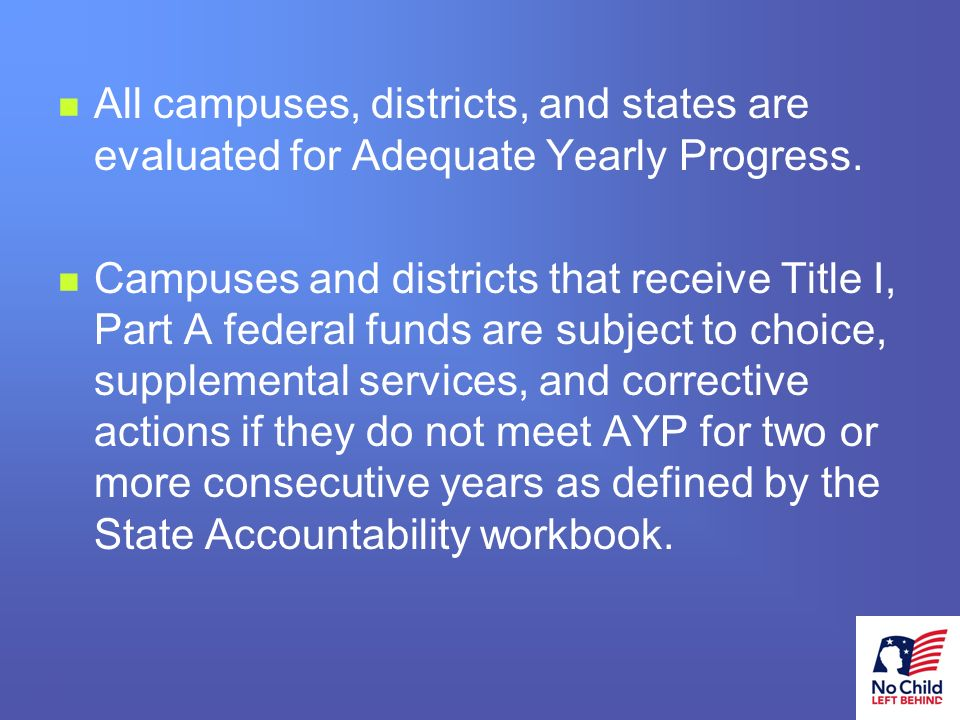 10 # All campuses, districts, and states are evaluated for Adequate Yearly Progress.