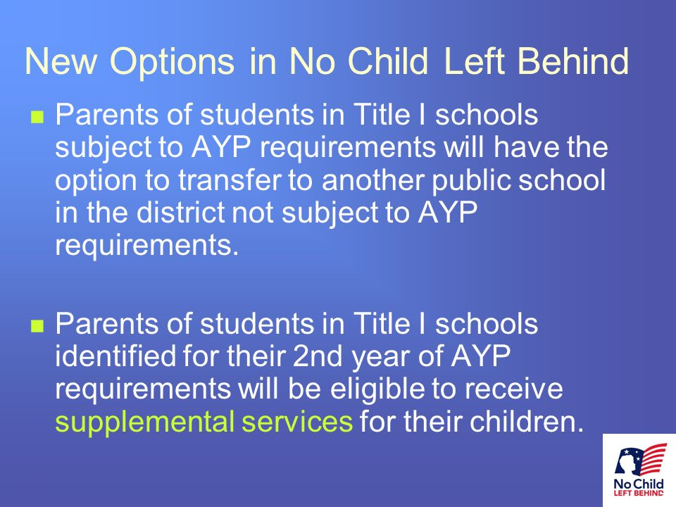 12 # New Options in No Child Left Behind Parents of students in Title I schools subject to AYP requirements will have the option to transfer to another public school in the district not subject to AYP requirements.