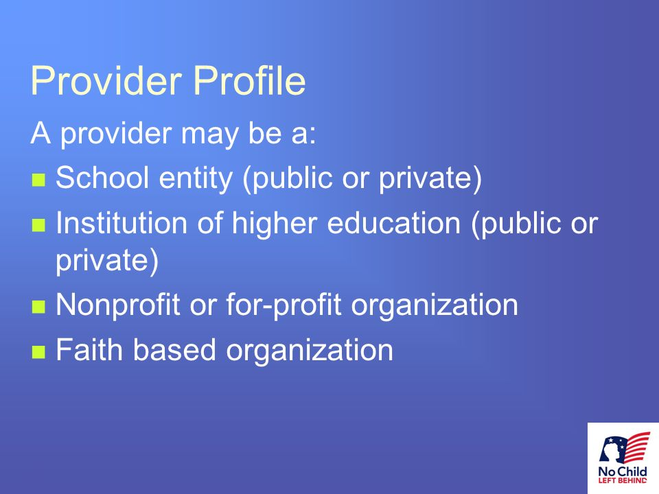 19 # Provider Profile A provider may be a: School entity (public or private) Institution of higher education (public or private) Nonprofit or for-profit organization Faith based organization