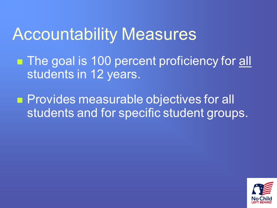 3 # Accountability Measures The goal is 100 percent proficiency for all students in 12 years.