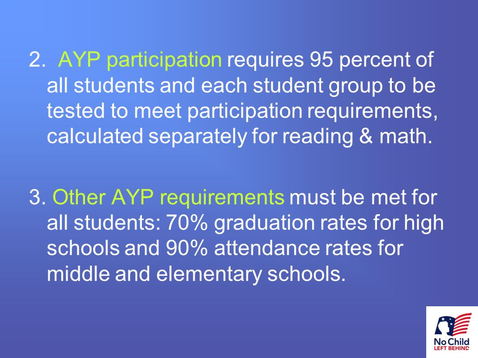 9 # AYP performance requirements can also be met if there is: 1.