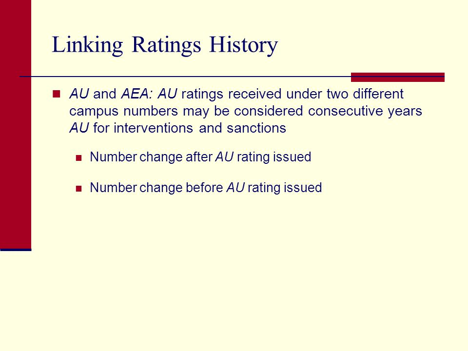 Linking Ratings History AU and AEA: AU ratings received under two different campus numbers may be considered consecutive years AU for interventions and sanctions Number change after AU rating issued Number change before AU rating issued
