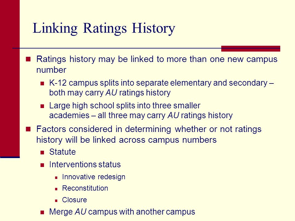 Linking Ratings History Ratings history may be linked to more than one new campus number K-12 campus splits into separate elementary and secondary – both may carry AU ratings history Large high school splits into three smaller academies – all three may carry AU ratings history Factors considered in determining whether or not ratings history will be linked across campus numbers Statute Interventions status Innovative redesign Reconstitution Closure Merge AU campus with another campus