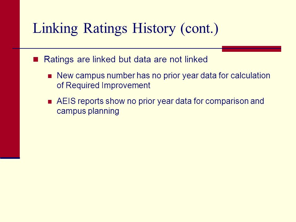 Linking Ratings History (cont.) Ratings are linked but data are not linked New campus number has no prior year data for calculation of Required Improvement AEIS reports show no prior year data for comparison and campus planning