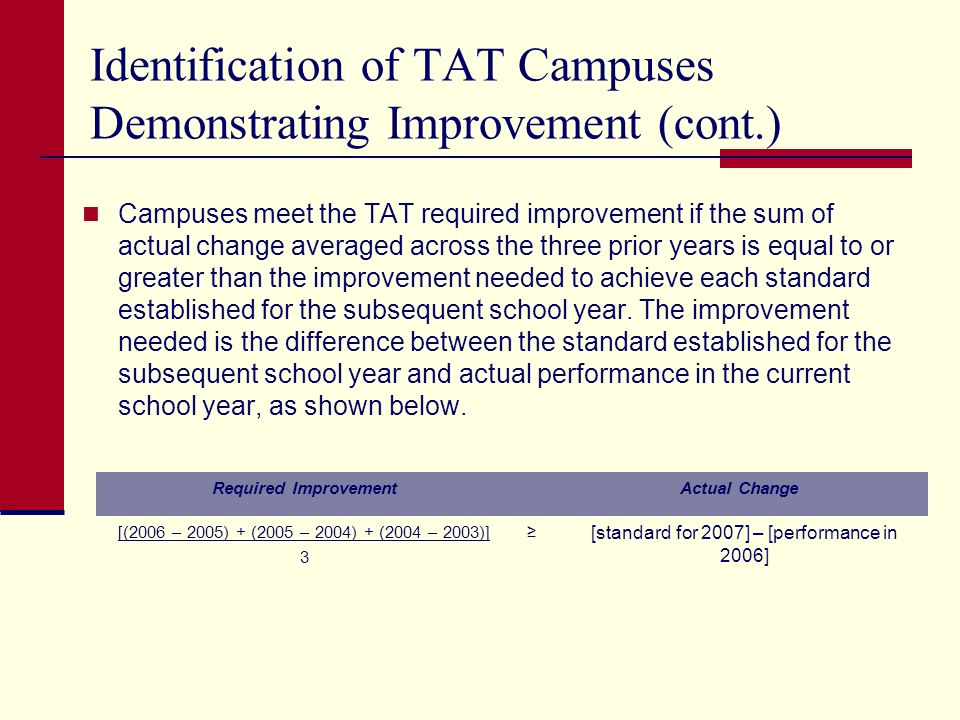 Identification of TAT Campuses Demonstrating Improvement (cont.) Campuses meet the TAT required improvement if the sum of actual change averaged across the three prior years is equal to or greater than the improvement needed to achieve each standard established for the subsequent school year.