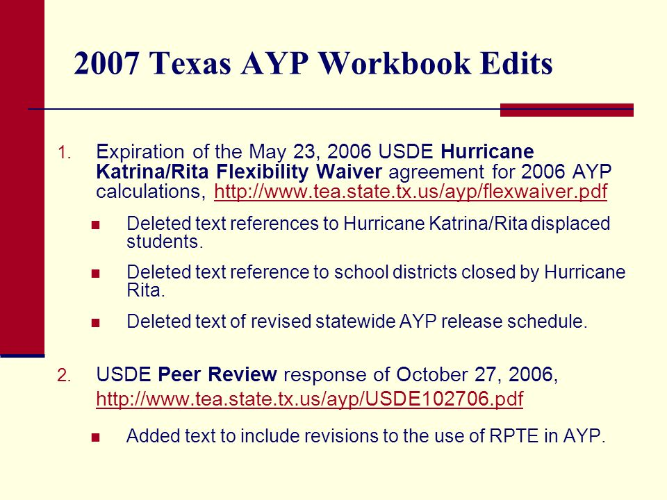 2007 Texas AYP Workbook Edits 1.