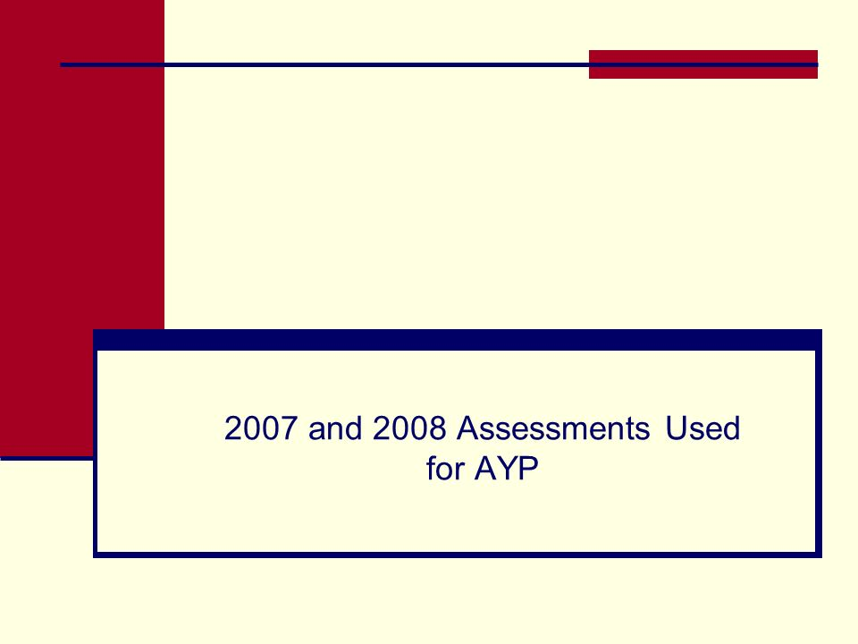 2007 and 2008 Assessments Used for AYP