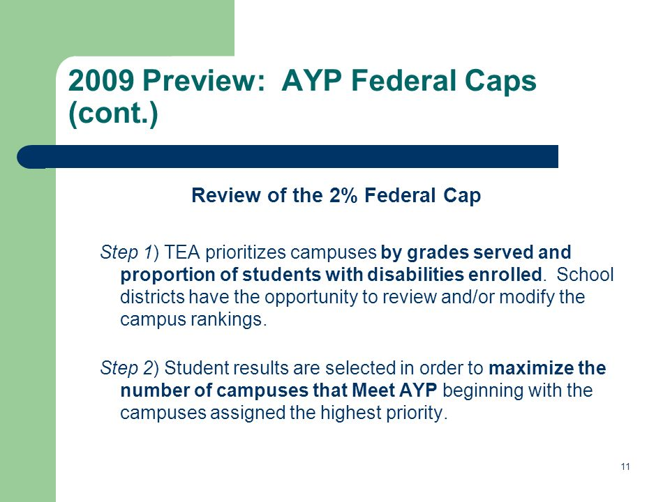 Preview: AYP Federal Caps (cont.) Review of the 2% Federal Cap Step 1) TEA prioritizes campuses by grades served and proportion of students with disabilities enrolled.