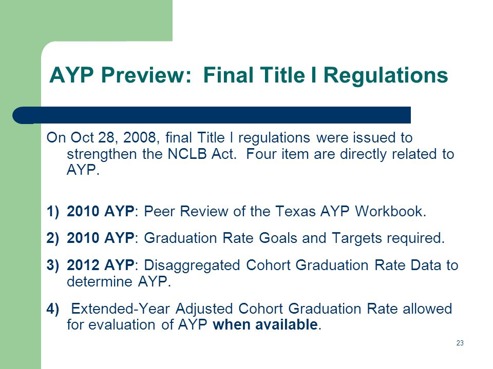 23 AYP Preview: Final Title I Regulations On Oct 28, 2008, final Title I regulations were issued to strengthen the NCLB Act.
