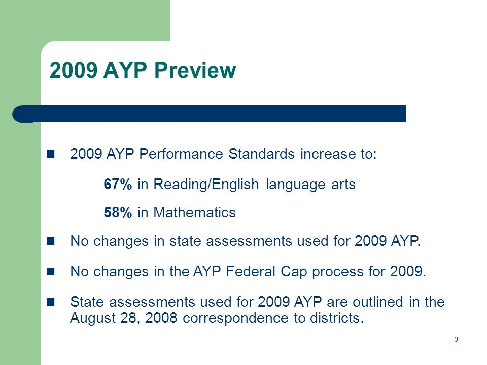 AYP Preview 2009 AYP Performance Standards increase to: 67% in Reading/English language arts 58% in Mathematics No changes in state assessments used for 2009 AYP.